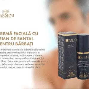 Crema faciala barbati, Lakshmi, 50 ml, energizanta, cu lemn de santal